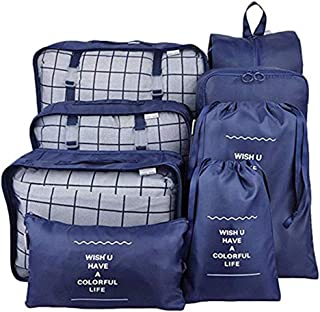 TFun 8 Set Packing Cubes Waterproof Lightweight Travel Storage Suitcase Luggage Organizer with Shoes Bag and Toiletry Bag