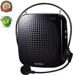 Amplificador de voz portátil 15W, personal con micrófono con cable Auriculares Altavoz de micrófono amplificador recargable para maestros, entrenadores, guías de turismo, Aire libre, Ancianos