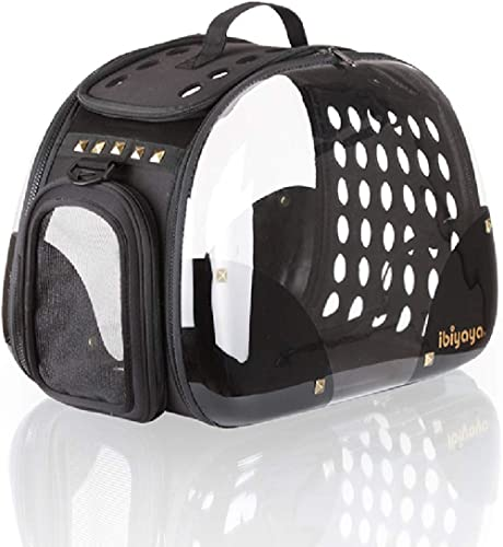 Ibiyaya Top Loaded Pet Carrier for Cats, Dogs, Rabbits, with Handle, Shoulder Strap, Black Rocker - Hard, Collapsible...