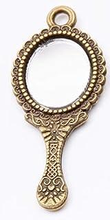 Makeup Mirror, Stylish Retro Mirror Zinc-Metal, Hand-Held Dressing Table with Compact Mirror Oval, Bronze Detazhi