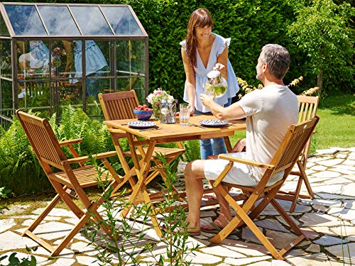 Deuba Sitzgruppe Sydney 4+1 FSC®-zertifiziertes Akazienholz 5-TLG Tisch klappbar Sitzgarnitur Holz Garten Möbel Set - 2