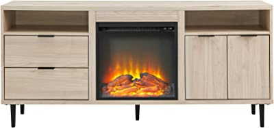 Walker Edison Alessi Contemporary Minimalist 2-Door Fireplace Stand for TVs up to 65 Inches, 60 Inch, Birch