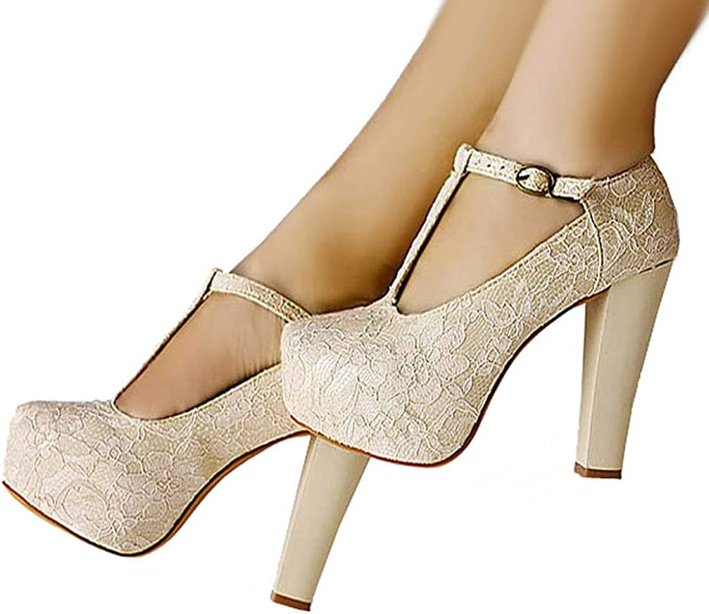 getmorebeauty Womens Marty Janes T-Strappy Lace Women Dress Wedding Shoes