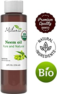 Premium Organic Neem Oil (8 Oz.) Virgin, Cold Pressed, Unrefined 100% Pure Natural Grade A. Excellent Quality.