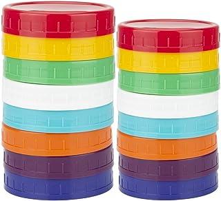 WISH 16 Pack Colored Plastic Mason Jar Canning Lids – 8 Wide Mouth & 8 Regular Mouth Ball Mason Lids