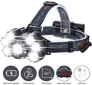 REEXBON Headlamp Flashlight 5000 Lumen Ultra Bright 7 LED Head Lamp 5Modes Rechargeable Headlight with White Red Lights Head Lamp for Outdoor Camping Cycling Running Fishing (With Battery)