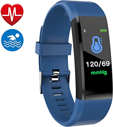 Smart Watch Fitness Tracker, Fitness Watch,Heater Rate Monitor, Waterproof Smart Fitness Band with Step Counter, Calorie Counter, Pedometer Watch for Kids Women and Men (Blue)