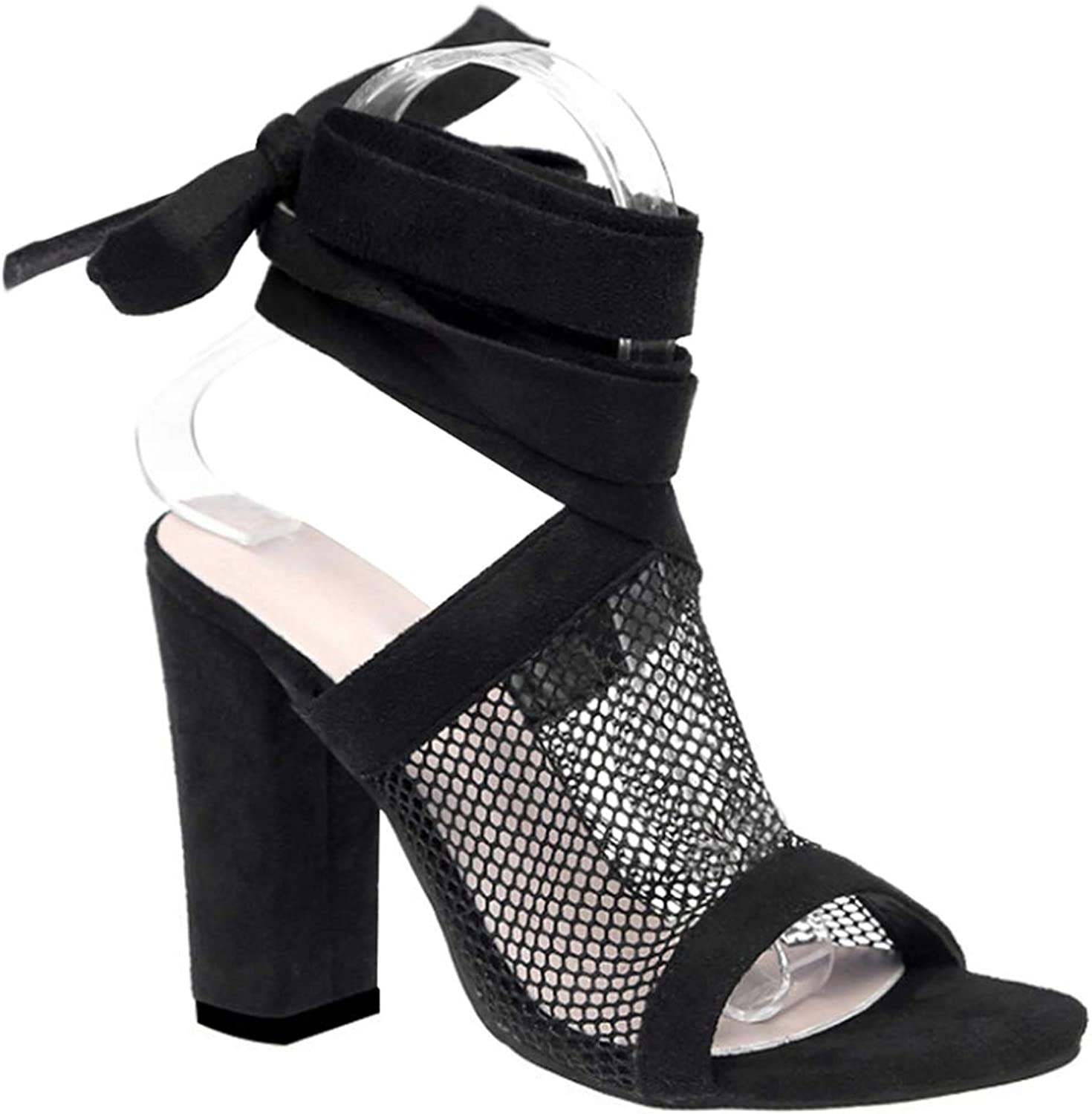 Uirend Womens shoes Block Heel Sandals - Women Strappy High Heels Summer Ankle Lace Up shoes Party Club Sexy Mesh Peep Toe