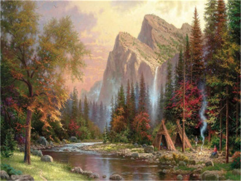YEESAM ART DIY Paint Numbers Adults Beginner Kids, Mountain Peaks & River 16x20 inch Linen Canvas Acrylic Stress Less Number Painting Gifts (River, Without Frame)