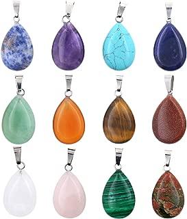 Wholesale 12 PCS Assorted Real Quartz Stone Pendant Water Drop Healing Chakra Reiki Crystal Charm Bulk for Jewelry Making