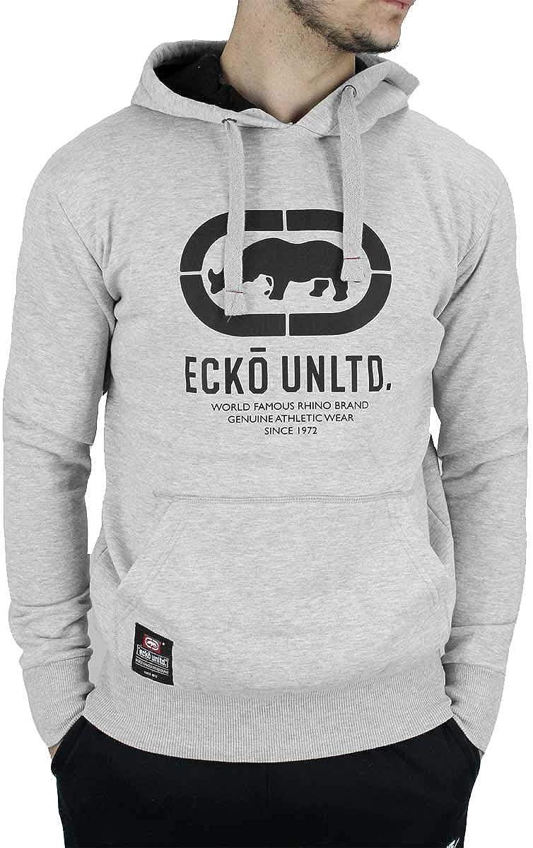 Ecko Men's Designer Long Sleeve Overhead Hoodie, Black, Charcoal Grey, Grey