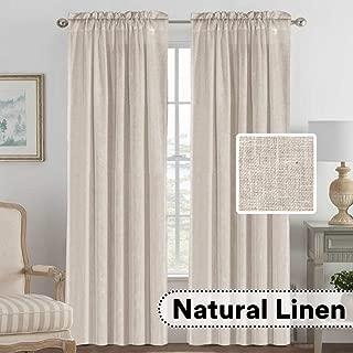 H.VERSAILTEX Elegant Natural Linen Blended Energy Efficient Light Filtering Curtains/Rod Pocket Window Treatments Panels/Drapes for Livingroom (Set of 2, Angora, 52