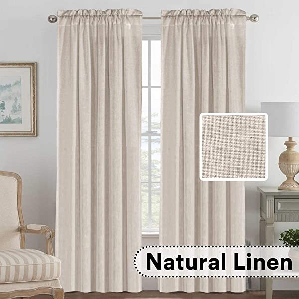H VERSAILTEX Elegant Natural Linen Blended Energy Efficient Light Filtering Curtains Rod Pocket Window Treatments Panels Drapes For Livingroom Set Of 2 Angora 52 X 96