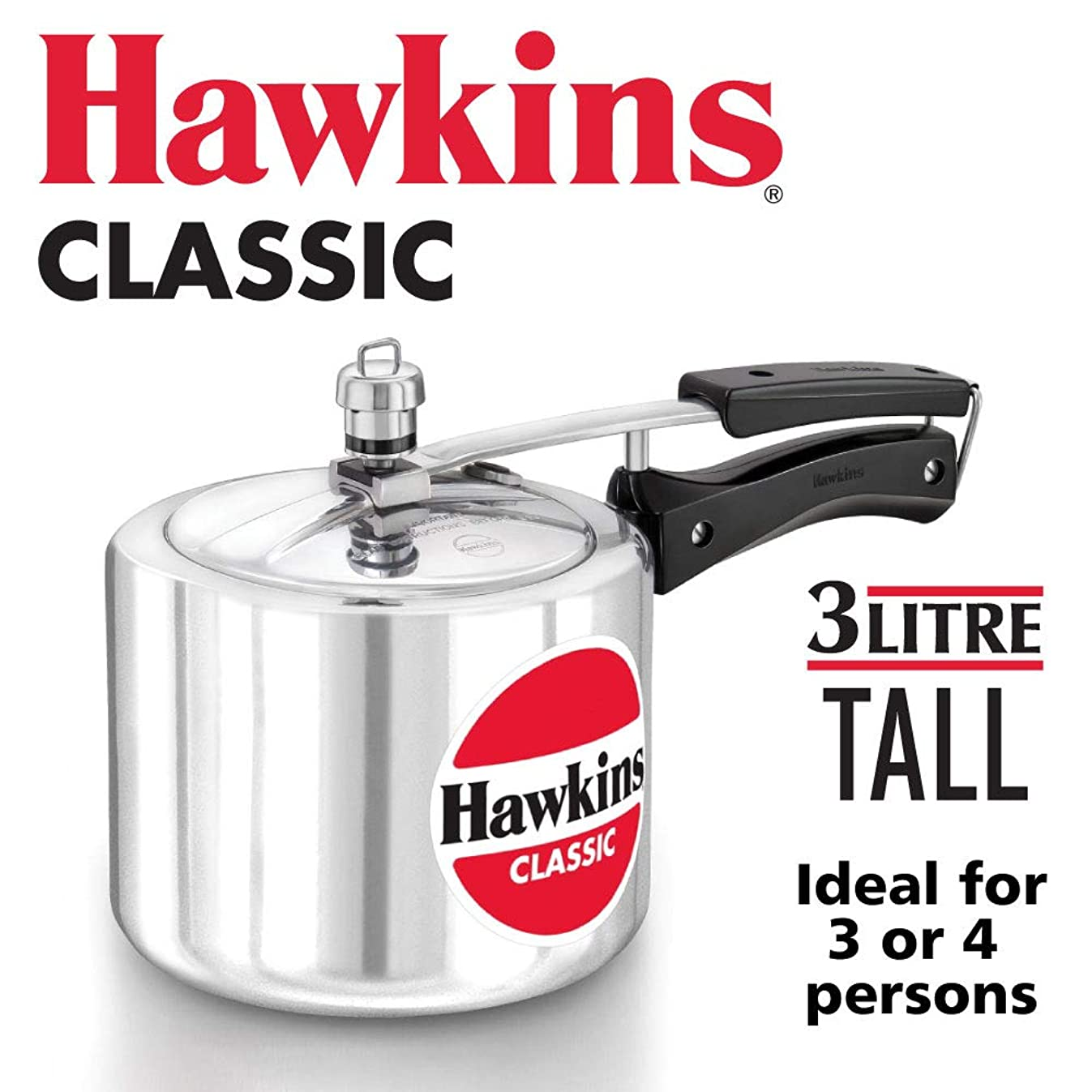 HAWKIN?Classic CL3T 3-Liter New Improved Aluminum Pressure Cooker, Small, Silver