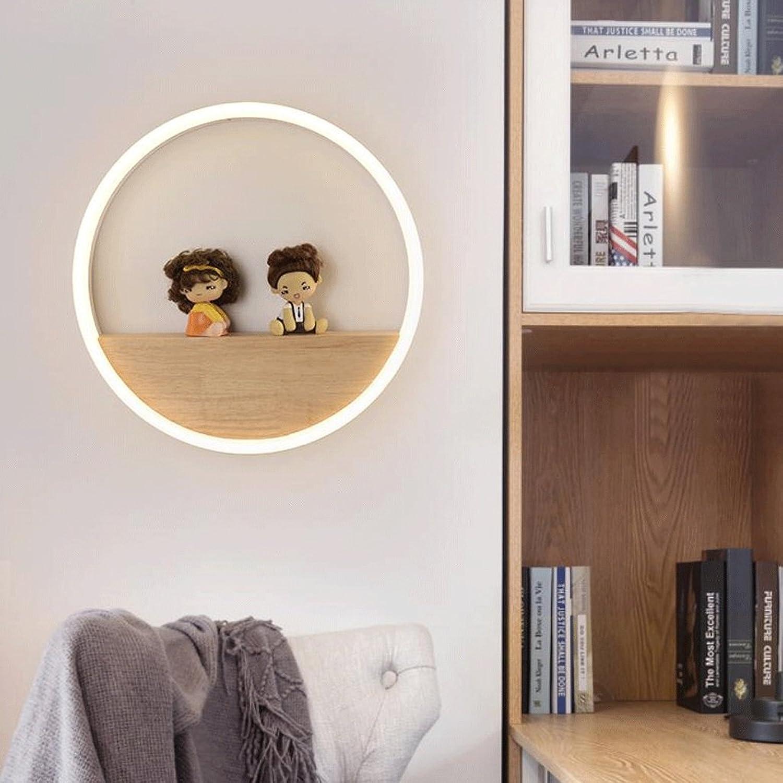WXH-Wandbeleuchtu Nordische Lampen Moderne minimalistische kreative original Holz Wohnzimmer Regal dekorative Wandleuchte Nachttisch Wandleuchte (gre   S)
