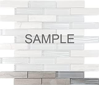 Modket TDH230MO-S Sample - White Oak Marble Natural Stone Gray Crystal Metallic Wave Cold Spray Glass Blends Brick Joint Mosaic Tile Backsplash