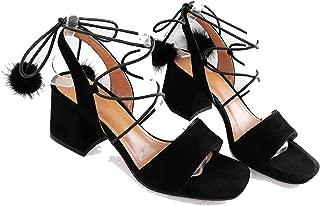 Summer-lavender Sandals Woman Kid Suede Open Toe high Heels Shoes Pumps for Fur Decoration Sandals