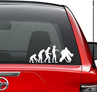 Theory of Evolution Ice Hockey Goalie Vinyl Decal Sticker Car Truck Vehicle Bumper Window Wall Decor Helmet Motorcycle and More - (Size 5 inch / 13 cm Wide) / (Color Gloss White)