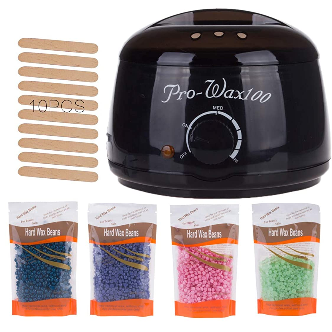 スペイン語セール日焼けLzxメルトワックス暖かい脱毛家庭用ワックスキット電気炊飯器ヒーター速いワックスがけ本体、顔、ビキニエリア、足に4種類のハードワックスと10種類のワックスアプリケータースクレーパーがあります,Black