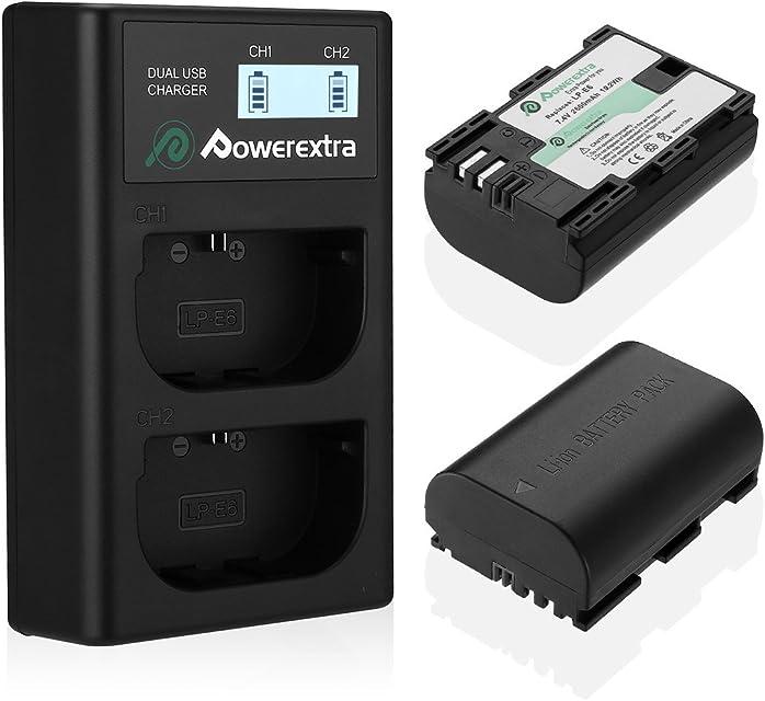 Powerextra Batería Canon LP-E6 y LP-E6N con Cargador Pantalla LCD USB para Canon EOS 80D 6D 7D 70D 60D 5D Mark III 5D Mark II BG-E14 BG-E11 BG-E9 BG-E7 LC-E6 BG-E6