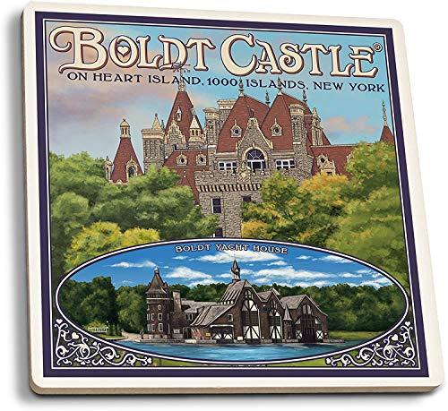 Thousand Islands, Nueva York - Boldt Castle (juego de 4 posavasos de cerámica, con respaldo de corcho, absorbente)