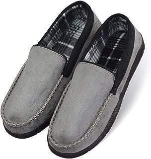 LA PLAGE 2017 Men's Non-Slip Indoor/Outdoor Microsuede Moccasin Shoes with Hardsole