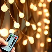 Abkshine (Remote and Timer) 100 LED Warm White Globe String Lights Outdoor, Waterproof Battery Powered LED Starry Light Fairy Light for Patio Umbrella Garden Party Xmas Tree Wedding Decoration