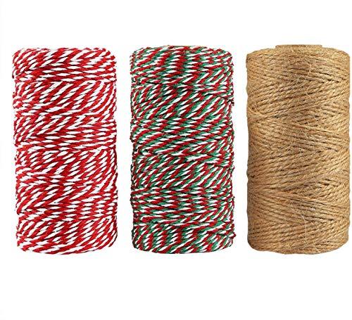 3 rotoli di spago di cotone di iuta naturale per pacchi regalo di Natale, fai da te, artigianato, 30 metri totali