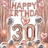 30 Geburtstagsdeko, Rosegold Happy Birthday Girlande Geburtstag Deko Mädchen mit Happy Birthday Luftballon Konfetti Ballons Glitzer Vorhang Konfetti Herz Stern Folienballon Party Deko