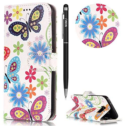 WIWJ Schutzhülle für Samsung Galaxy S7 Handyhülle Leder Case für Samsung Galaxy S7 Hülle Lederhülle[Gemalt Marmor Halterung Funktion Leder Case] Hülle für Samsung Galaxy S7-Farbe Schmetterling