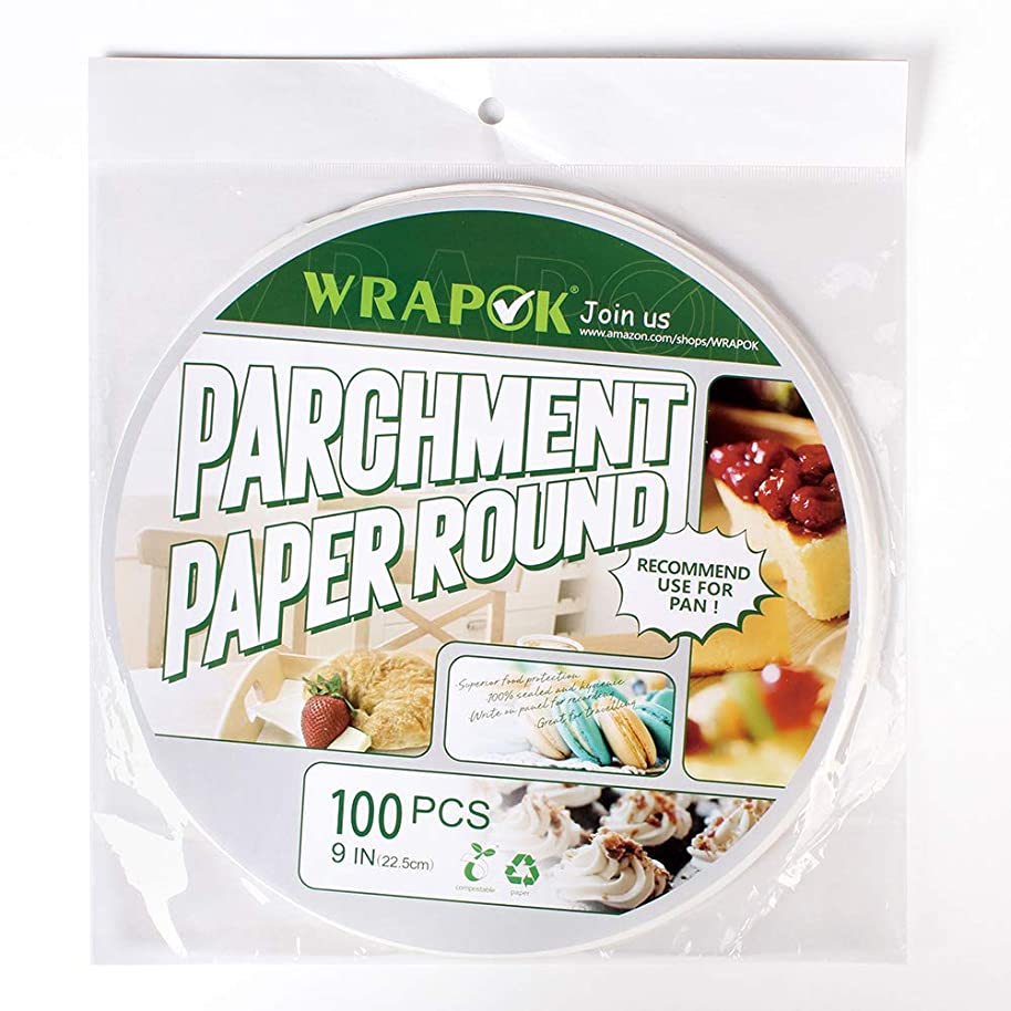 WRAPOK Baking Parchment Paper Round 9 Inch Greaseproof Paper Non-Stick for Pans Cooking Cake Circle, 100 Count