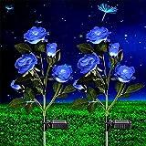 2 Pack Outdoor Solar Garden Lights,Solar Powered Light with 5 Blue Rose Flowers, Bigger Solar Panel Garden Decor Waterproof Solar Decorative Lights for Patio Pathway Courtyard Lawn Yard Farm Wedding