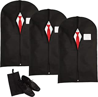 Hulix Garment Bags   Breathable Suit Bag for men   Garment Bags for Travel and Storage Dust Proof and Water Resistant Material 42in x 24in (Set of 3) Includes a shoe bag (Black)