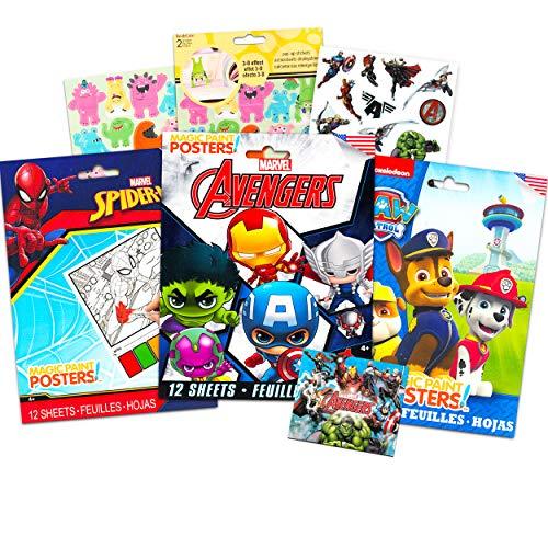 Superhero Paint with Water Party Favors Bundle Set ~ 36 Sheets Marvel Avengers, Paw Patrol, Spiderman Paint Posters (Superhero Boys Activity Book)