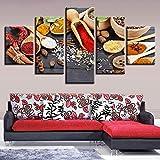 Imagen de lienzo modular HD imprimir 5 piezas de cuchara de pimienta de arroz glutinoso pintura mural decoración moderna sala de estar con marco y