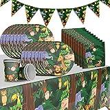 WENTS Set de 30 Piezas Plato de Animales del bosque para Fiestas Incluye Pancarta Platos Cubiertos Servilletas Mantel Cucharas