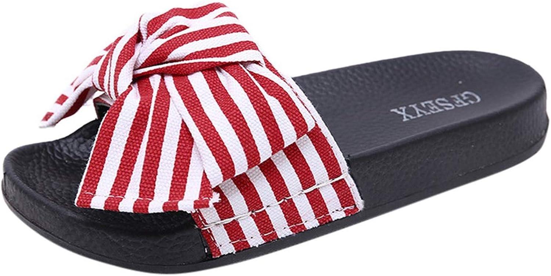 Joyhul 2019 Women Slipper Summer Bow Knot Slipper Fashion Casual Home Slippers Beach shoes women DA,Red,35,United States