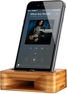 ARCHEER Cell Phone Stand with Sound Amplifier, iPhone Stand Holder Natural Bamboo Wood Phone Dock Stands Compatible Phone XS Max XR 6 6s 7 8 X Plus 5 5s 5c and Android Smartphones Within 5.5 Inches