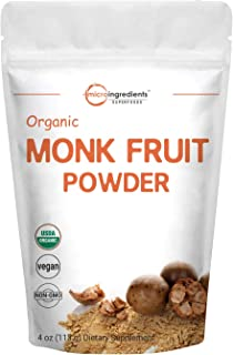 Micro Ingredients Organic Monk Fruit Powder, 4 Ounce (113 Grams), Zero Calorie, Zero Carb, Sugar Alternative, Natural Sweetener, Perfect for Keto, Paleo & Low-Carb Dieters, Non-GMO and Vegan Friendly