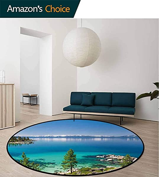 Blue Modern Machine Washable Round Bath Mat Tranquil View Of Lake Tahoe Sierra Pines On Rocks With Turquoise Waters Shoreline Non Slip Soft Floor Mat Home Decor Round 31 Inch Blue Grey Green
