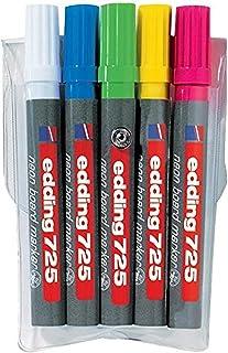 Edding e-725/5 s Set de 5 Marqueurs fluorescents à Pointe biseautée 2 à 5 mm Coloris Assorties