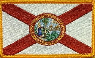 Florida State Flag Embroidered with Hook & Loop Patch MC USA Biker Tactical Shoulder Tactical Morale Emblem #02 (Gold Border)