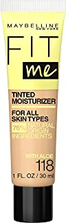 Maybelline New York Fit Me Tinted Moisturizer, Fresh Feel, Natural Coverage, 12H Hydration, Evens & Conceals Imperfections for All Skin Types and Tones, 118, 1 Fl Oz