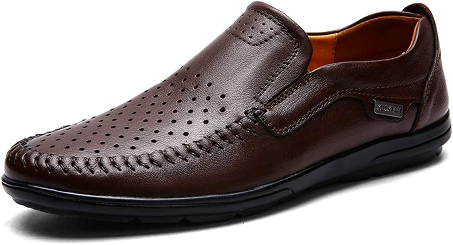 2019 herr Oxfordskor, Oxford skor for män Formal skor OX läder Slip On Style Round Toe Comfortable Low Top (Hollow valfri)
