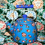 AMYZ Tetera Tetera Tetera Esmaltada Tetera Esmaltada Cebada Tetera 3.3L Mantequilla Tetera Tetera Cerámica Patrón Mango Rojo (Color:Azul)