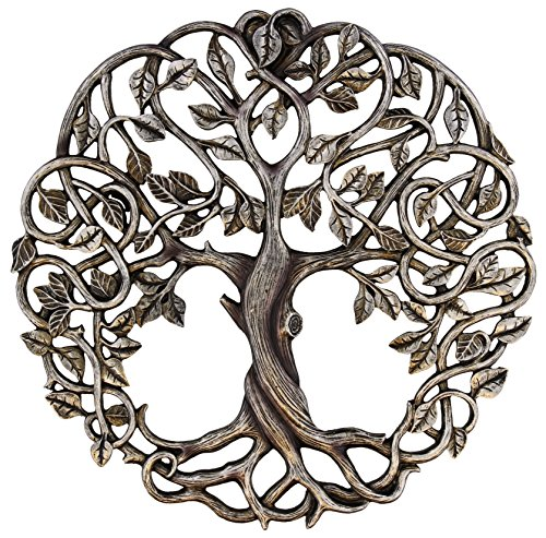 Tree of Life Wall Plaque 11 5/8 Inches Decorative Celtic Garden Art Sculpture - Antique Silver Finish