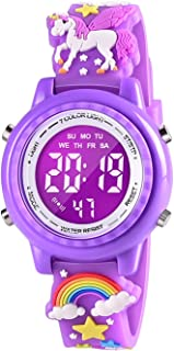 VAPCUFF Toddler Toys Gifts for Girls Age 3-6, Girls Watches Unicorn Gifts for Girls Gifts for 3 4 5 6 7 Year Old Girls Toys for 4 5 6 7 8 Year Old Girl - Dark Purple