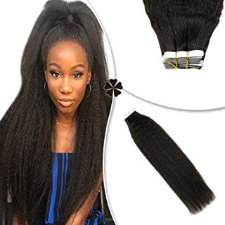 Hetto 16 Inch Brazilian Extensions Tape in Kinky Straight #1B Off Black 20Pcs 50Gram Yaki Human Hair Skin Weft Glue in Extensions for Thin