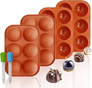 DELFINO Silicone Molds, 6 Holes Semi Sphere Chocolate Molds, 4 Pack Silicone Baking Mold for Making Hot Chocolate Bombs, C...
