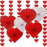 Guirnalda de 72 Corazones de Fieltro 6 Abanicos de Papel en Corazón Rojos, Guirnalda de Corazones Rojos para Día de San Valentín Aniversario Nupcial Fondo Fotográfico de Fiesta de Despedida a Soltera